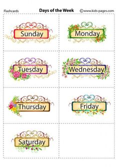 Names of days of week printable pdf versions small size 3x3
