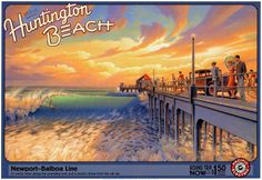 Vintage surfing poster for Huntington Beach, CA