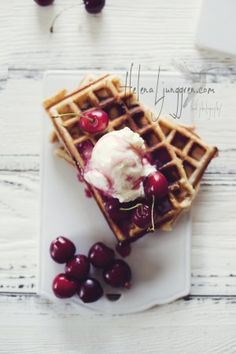 Cherry syrup waffles