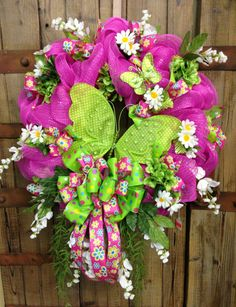 Butterfly wreath by WilliamsFloral on Etsy, $95.00