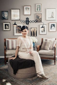 Ginnifer Goodwin's home. love the picture wall and lights