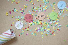 #DIY Confetti invitations + template (via ohhappyday)