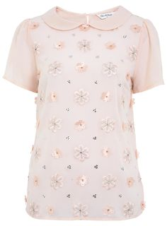MISS SELFRIDGE - FLOWER 3D SPARKLE TEE.