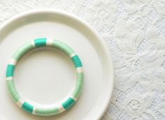 Mint. Green. White. Colorful Stackable Thread Bangle Bracelet - no. 508A
