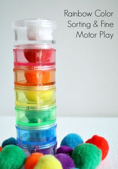 Rainbow Color Sorting and Fine Motor Play
