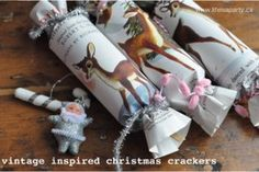 Give your Christmas party a dash of jolly old English charm with these Old School Christmas Crackers. They're party favors and games in one.