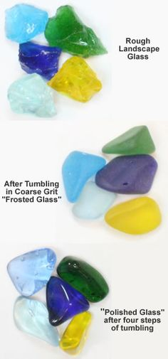 Make your own sea glass, polished glass - how to with video using a rock tumbler.