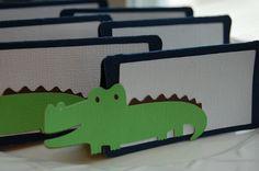 Alligator Food Labels, Place Cards, Alligator Party, Alligator Baby Shower, Alligator Theme, 12 Pcs. $10.00, via Etsy.