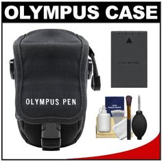 Olympus Casual Style Canvas PEN Digital Camera Case (Black) with Battery + Cleaning Kit for E-P1, E-PL1, E-P2, E-PL2, E-P3, E-PL3, E-PM1 & 14-42mm Lens