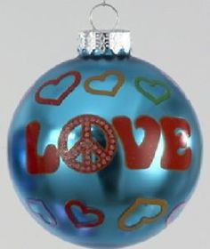 hippie christmas ornaments | Hippie Love Peace Sign Retro Glass Christmas Tree Ornament Holiday ...