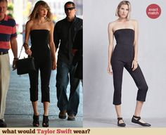 Taylor Swift's black strapless cropped jumpsuit. Outfit Details: http://wwtaylorw.com/3106