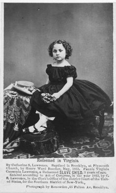 Propaganda portrait of Fannie Virginia Casseopia Lawrence, a Redeemed Slave child, 5 years of age.  1863  n order to garner sympathy - and funds - from rich northerners as they toured the country, organisers from New Orleans portrayed the slaves as white for a propaganda campaign, using four children with mixed-race ancestry and pale complexions.