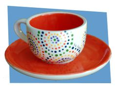Bright Dotted Teacup - Paint Your Own Pottery dotteri teacup, color, potteri idea, bright dot, ceram, paints, dot teacup, teacups, easy pottery painting ideas