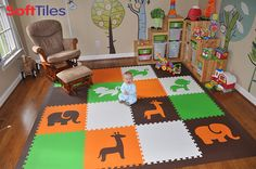 This beautiful playroom uses SoftTiles Safari Animals Foam Tiles to create a fun and soft play mat. SoftTiles Foam Mats are great for matching room decor and furniture.