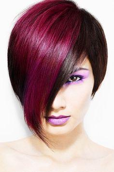 Fuchsia Highlights for this Fun Trendy Haircut