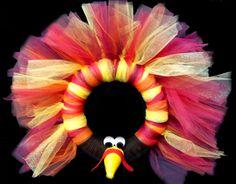 Thanksgiving Turkey Tulle Wreath #thanksgiving #craft #wreath