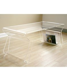 "Adair Acrylic Coffee Table   Overstock.com 39"" wide x 17"" deep x 15.5"" high"