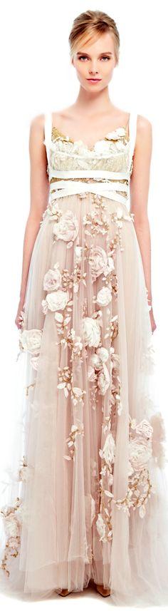 Marchesa ● SS 2014 ●  Silk Ribbon Rose Gown