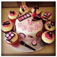 birthday parties, spa party cupcakes, spa parti, spa cupcakes, spa birthday party cupcakes, 13th birthday, party cakes, parti idea, makeup cupcakes