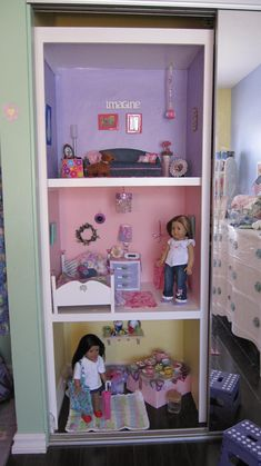 American Girl Doll House - using closet space. i totally have room to do this and shelves like this already exist on one side of her closet!!! perfect!