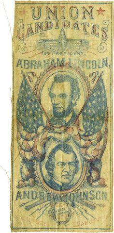 heckyesamericana:    ca. 1864, [Lincoln & Johnson: Jugate Campaign Ribbon]  via Heritage Auctions