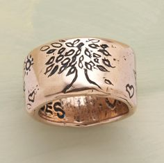 "Our wonderfully hefty, 1/2""-wide band of sterling silver is inscribed ""grow strong"" and signed by the artist, Jes MaHarry. Made in USA. Exclusive. Whole and half sizes 5 to 11-1/2."