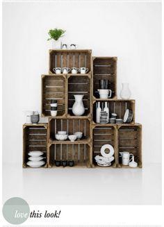 """Crate shelf decor - I love """"crate"""" made decors!"""