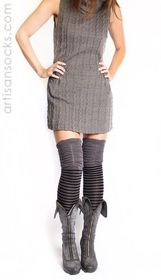 Gray and Black Striped Thigh High Socks with Ruched Top by K. Bell from Artisan Socks www.artisansocks.com