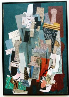 "Pablo Picasso, ""Man with a Pipe"", 1915. Oil on canvas. The Art Institute of Chicago. Example of cubism."