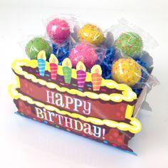 Birthday cake pops from Candy's Cake Pops in Happy Birthday basket boxes from Nashville Wraps.  #birthdaycakepops