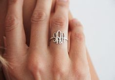 Silver Monogram Ring Initial Rings Thin Ring Thin by capucinne
