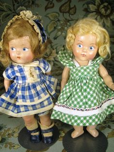 """Vogue Toddles Doll on left (marked """"My Sisters and Me"""" on shoe),  and Early Vogue Painted Eye Ginny on Right from 1940's ~ 2 Dolls!"""