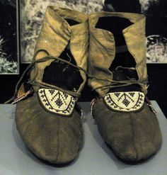 """1900 Dakota (First Nations) Moccasins at the Royal Ontario Museum, Toronto - From the curators' comments: """"Dakota style moccasins were more comfortable than fully beaded Lakota moccasins. However, in the early 20th century as the Grass Dance evolved into the modern powwow, the Dakota adopted the more highly decorated Lakota dance moccasins."""""""