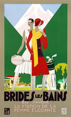 Classic Art Deco poster for fashionable resort wear by Benigni. 1929