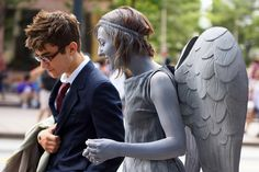 The Doctor and a Weeping Angel.