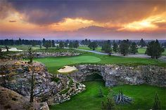 """The Pronghorn in Bend, Ore., features a golf course designed by Tom Fazio.  When developers were building the course, an enormous """"lave tube"""" cave was exposed during blasting to create its signature par three over a cavern."""
