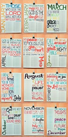 bible verse calendar!! It could be easy to make even if its not technically a craft idea