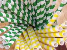 Green and Gold Party Straws . . .#Tailgate