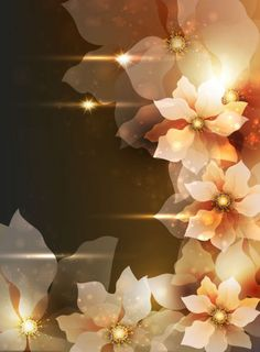 Lighted flowers realistic design background