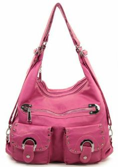 Pink Soft Stone Washed Tote Purse