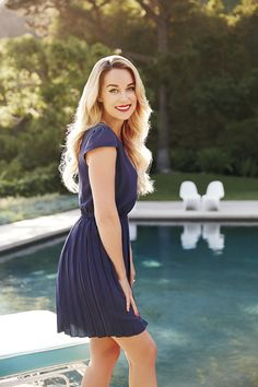 Dress up classic navy with a bright red lip. LC Lauren Conrad at #Kohls