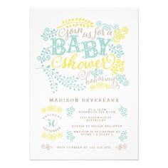 Modern Yellow Mint Gender Neutral Cute Baby Shower Personalized Announcements