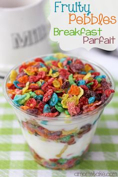Our favorite quick breakfast that is much more fun and flavorful that a simple bowl of cereal. Takes a minute to make! Fruity Pebbles breakfast parfait by #amomstake