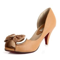 """3 1/10"""" heel hight camel Pu leather bowknot with gem stones and leather lining women's shoes"""