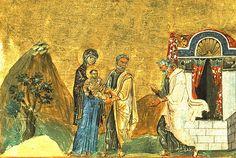 Circuncisión de Jesús, escena representada en el Menologio de Basilio II (siglo XI). Ruth Totolhua