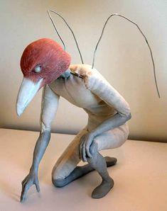 Raven Men - the Assembly of an Art Doll  marvelous tutorial for sculpture raven painting, bird, fiber art sculpture, raven men, epoxi clay, art doll, clay sculpture art, raven doll