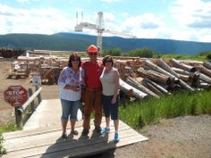 Many thanks to Sandie Rose for this photo of her posing with Timber Kings star Peter Arnold at our Pioneer Log Homes of British Columbia work yard.
