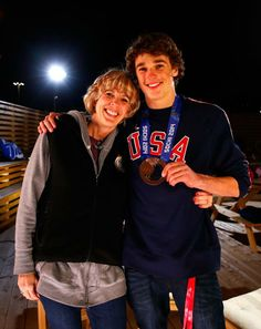 It's all smiles for Nick Goepper & his mom Linda after winning a Bronze medal in #Sochi2014.