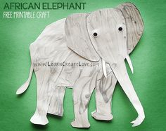 African Elephant Printable Craft