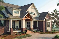 The Cedar Ridge Plan 1125 www.dongardner.com - This gorgeous Craftsman home exposes rich architectural detail throughout the open floor plan. Perfect for those who enjoy outdoor living, this design features copious areas for taking advantage of Mother Nature. #Craftsman #Walkout #House